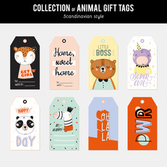 Cute and funny animal labels set. Isolated. Color background. Ve