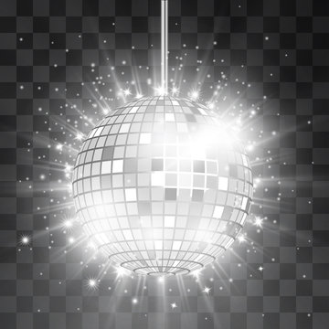 Retro silver disco ball vector, shining club symbol of having fun, dancing, dj mixing, nostalgic party, entertainment. Illustration on transparent background. Rays of light reflect in mirror surface.