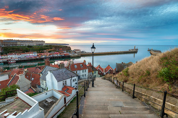 Wall Mural - Sunset over Whitby Harbour