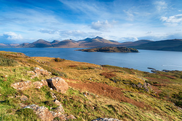 Wall Mural - The Isle of Mull coastline at Acharonich, looking out over the small isle of Eorsa to the Ben More mountains