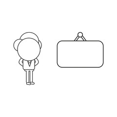 Vector illustration of businessman character with blank hanging sign. Black outline.