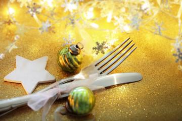 weihnachtliches Besteck, gold