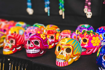 Ceramic skull, small colorful heads for halloween