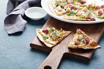Flatbread or pizza with roasted radishes
