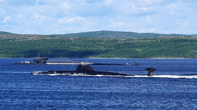 Russian nuclear powered submarines of Victor-III and Delta-IV Class in Kola Bay.