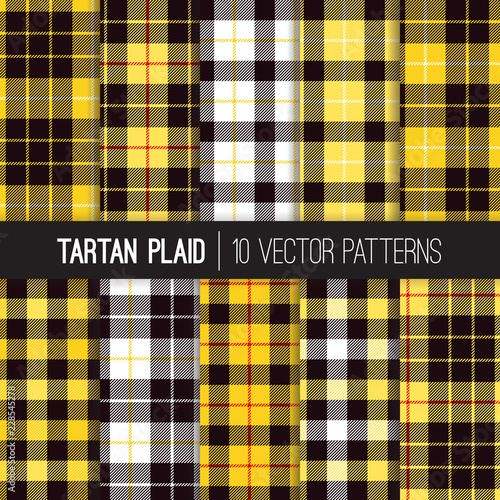 Yellow, Black, White and Red Tartan and Buffalo Check Plaid
