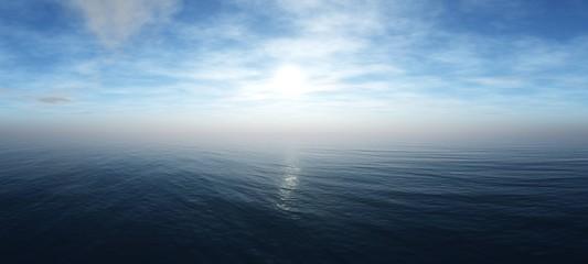 Panorama of sea sunset, ocean sunrise, seascape