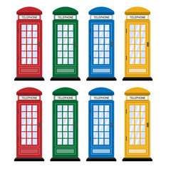 London telephone booth in different colors