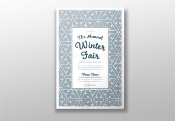 Winter Event Poster Layout with Snowflake Pattern