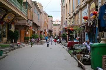 street in old city of Kashgar, Xinjiang, China, Uyghur autonomous region