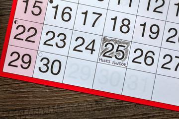 Mum's Funeral written on a date on a calendar page
