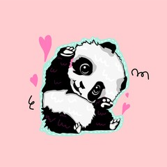Vector cartoon style cute panda