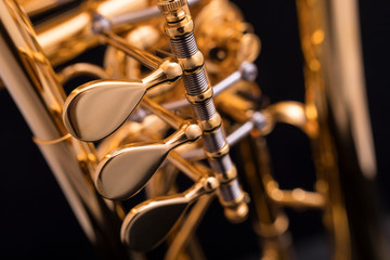 A part of a gold plated rotary trumpet on a black background