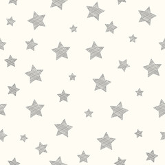 Wallpaper with hand drawn stars. Vector.