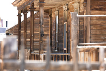 Bodie Ghost Town, an abandoned wooden house.