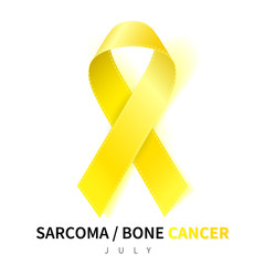 Sarcoma Awareness Week. Realistic Yellow ribbon symbol. Medical Design. Vector illustration