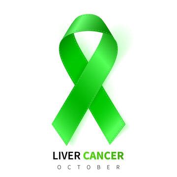 Liver Cancer Awareness Month. Realistic Emerald Green ribbon symbol. Medical Design. Vector illustration