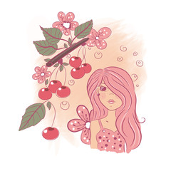 Cute cartoon girl and branch of cherries, vector illustration