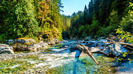Wall Murals River The Coquihalla River before it flows through Coquihalla Canyon Provincial Park and past the Othello Tunnels of the old Kettle Valley Railway near the town of Hope, British Columbia, Canada