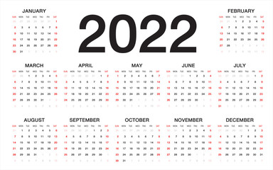 calendar 2022, Week starts from Sunday, business template
