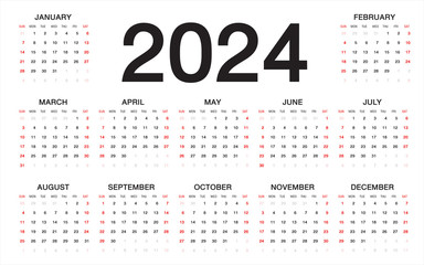 calendar 2024, Week starts from Sunday, business template