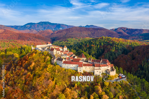 Wall mural Landscape with Medieval fortress  Rasnov, Brasov , Transylvania, Romania