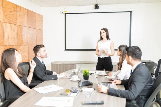 Entrepreneur Giving Speech To Collaborators