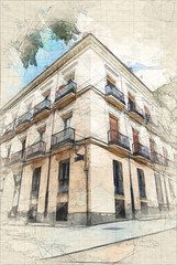 Sketch of a classic building in Madrid