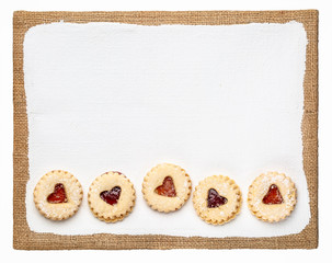 jam heart biscuits on a primed art canvas