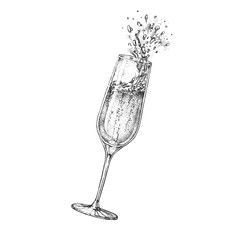Vector illustration of hand drawing champagne glass with splash