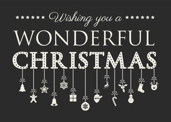 Decorative Christmas text with hanging ornaments. Vector.