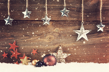 christmas background with stars and baubles