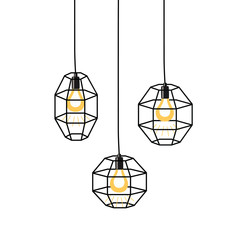 Hand drawn vector set of different geometric loft lamps and iron lampshade. Industrial style.