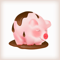 Dreaming cute pink pig standing in a puddle of melted black chocolate. Vector illustration