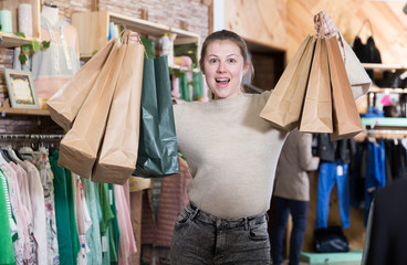 Woman is satisfied shopping