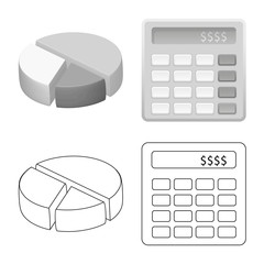 Vector design of bank and money sign. Collection of bank and bill vector icon for stock.