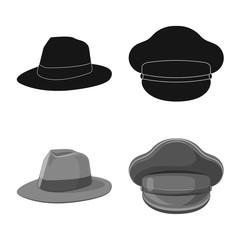 Vector design of headgear and cap logo. Set of headgear and accessory stock vector illustration.