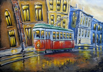 Oil paintings city landscape. Old tram. Fine art.
