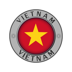 Medallion with the name of the country of Vietnam and a round flag