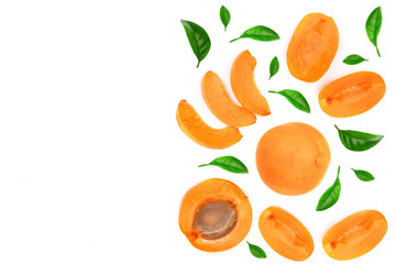 Apricot fruits with leaves isolated on white background with copy space for your text. Top view. Flat lay pattern
