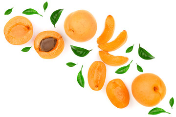 Apricot fruits isolated on white background with copy space for your text. Top view. Flat lay pattern
