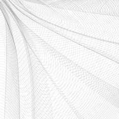 Abstract pleated network. Gray ripple thin lines, curves. Vector monochrome striped background. Line art pattern, textile, net, mesh textured effect. EPS10 illustration