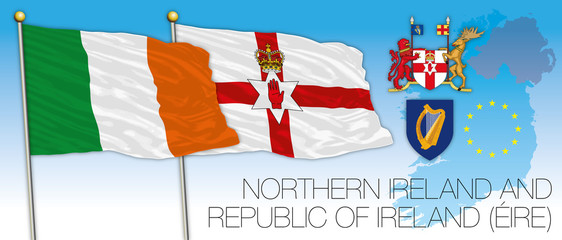 Eire and North Ireland flags, vector illustration, Europe