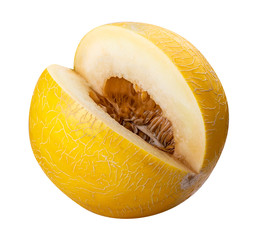 Yellow melon isolated on white background. Clipping path