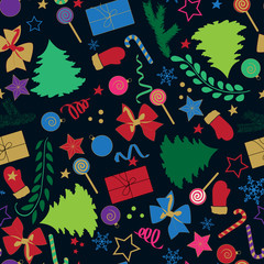 Merry Christmas seamless pattern with Christmas elements for your design.