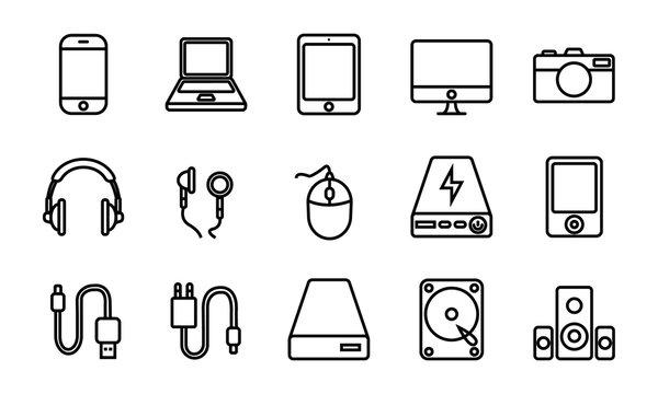 Gadged Icon Set (Outline). Editable Stroke. 64x64 Pixel.