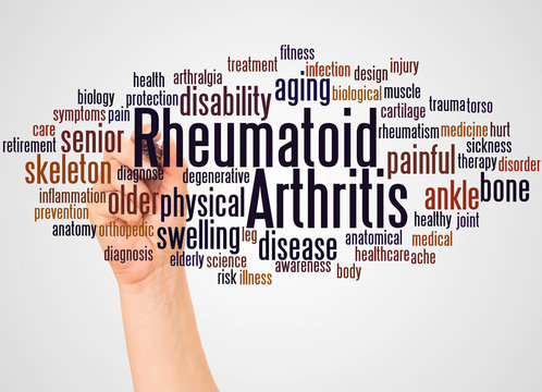 Rheumatoid arthritis word cloud and hand with marker concept