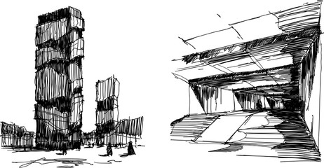 two hand drawn architectectural sketches of a modern abstract tall buildings and dark corridor