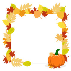 Frame of autumn leaves and pumpkin on a white. Autumn banner