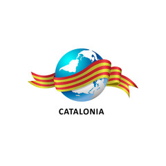 Vector Illustration of a world – world with catalonia flag